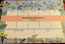 Sale! Punch Studio blue floral desktop mousepad, notepad, weekly planning list