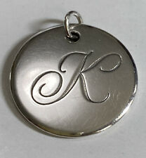 Tiffany & Co Silver Small Notes Alphabet Letter K Charm Fancy Pendant Pre-owned
