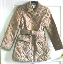 Ann Taylor Loft Nylon/Polyester Quilted & Belted Long Coat Golden Tan PXXS