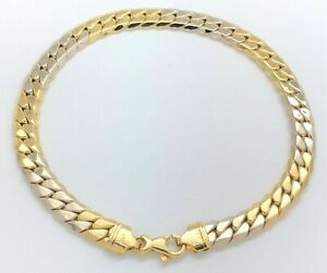 18K Yellow & White Gold 6.5 mm Curb Chain Link Italy Bracelet 8.4 Inches