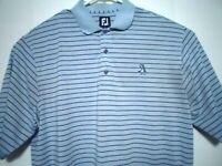 Footjoy FJ Mens XL Blue Striped Golf Shirt Short Sleeve