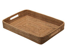 Laguna Handwoven Rattan Serving Tray with Cut-Out Handles, Honey Brown