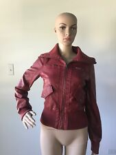 Beverly Hills Polo Club Red Vegan Faux Leather Bomber Jacket Coat Zipper Front S