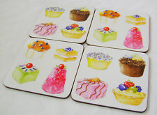 NEW SET OF 4 CORK BACKED DRINKS COASTERS CUPCAKES & PUDDINGS DESIGN APOLLO SALE