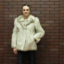 ladies NICE SOFT CLEAN real WHITE BLUE SILVER FOX FUR JACKET COAT xsm petite