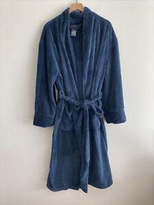 Hanes Men's Long Lined Navy Cozy Warm Robe OS