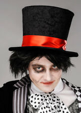 Mens Halloween Gothic Black Mad Hatter Top Hat