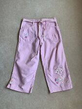 Next Age 10 Pink Trousers Cropped Cat Kitty Cotton Summer Loose Girls Floral