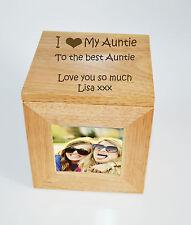 Foto de madera de Roble Personalizado Caja Caja Cubo recuerdo grabado-I Heart Mi Tía