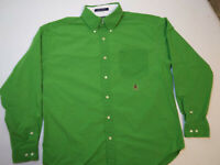 Tommy Hilfiger Mens L Large  Bright Green Long Sleeve Button Down Shirt EUC!