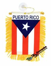 Puerto Rico Mini Banner Flag By Car & Home Window Mirror Hanging 2 Sided