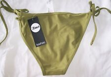 Boohoo Tie Side Bikini Briefs sage green bottoms Size 10 Brand New Tags BNWT