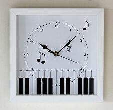 NEW 25cm Piano Wall Clock - Music Wall Clock White Modern Instrument Gift