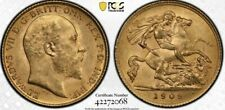 More details for 1909 g britain edward vii gold half sovereign pcgs ms63