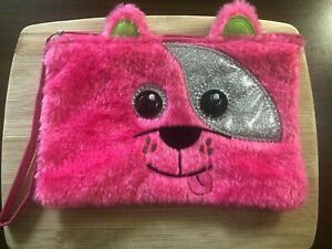 Pink Fuzzy Cartoon Dog Face Clutch Purse / Pouch / Bag