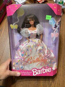 Birthday Barbie #16000-1996 Brunette NRFB NIB Balloon Dress