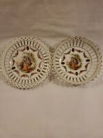 Vintage Reticulated Trinket Bowl And Plate Marked Germany