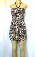 SKY Brand Mini Dress Empire Halter Neck Jeweled Brown Beige Stretchy Abstract M