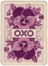 Playing Cards 1 Swap Card Old Antique Wide Advertising OXO Purple PANSY FLOWERS