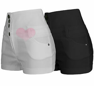 Ladies Girls High Waisted Hotpants Jean Style Shorts Black / White Size uk6-uk14