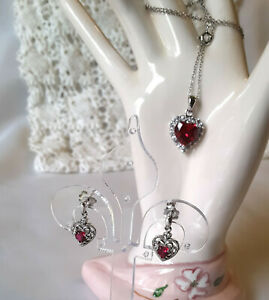 Set .925 Sterling Silver Created Ruby & White Sapphire Hearts Necklace Earrings