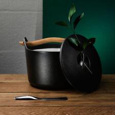 Iittala Sarpaneva 3L Litre Black Enamelled Cast Iron Pot Wood Designer Induction