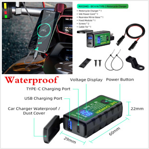 Motorcycle SAE-USB Adapter QC 3.0 USB Type C Port Fast Charger Black Waterproof