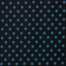 "Black 100% Cotton 1/4"" Turquoise Blue Polka Dot Fabric"