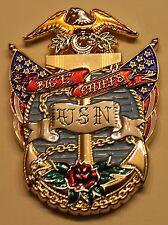 """USS Enterprise (CVN-65) Aircraft Carrier Big """"E"""" Chiefs Navy Challenge Coin"""