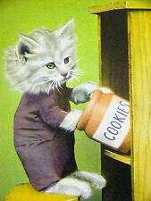 Harry Whittier Frees Cute White Kitten in the COOKIE JAR 1958 Print Matted