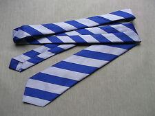 BLUE & SILVER GREY STRIPED SKINNY SLIM MOD NECK TIE VINTAGE PUNK COLLEGE NECKTIE