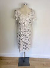 BEIGE SATIN & WHITE LACE OVERLAY SHORT SLEEVE PENCIL DRESS SIZE 14