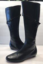 Jimmy Choo Black Leather Side Zip Boots Low Heel Sz 37 1/2 US 6 1/2