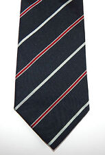 J. Crew Smooth Dark Blue Silver Red Striped Silk Neck Tie