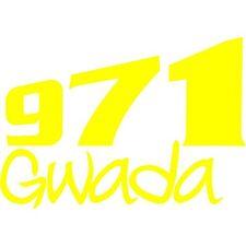 sticker Autocollant 971 Gwada  Guadeloupe Gris ile34