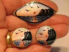925 Silver Enamel Brooch Earrings Set Midnight Sun N Cape Olav Hjortdahl Norway
