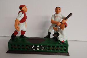 "Vintage Yield House 1950s Mechanical Cast Iron Bank ""Hometown Battery"" Baseball"