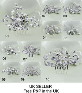 Bridal Pearl Crystal Hair Comb Rhinestone Flower Lady Bride Bridesmaid Gift