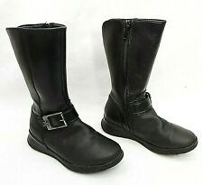 CLARKS GIRLS BLACK LEATHER MID CALF BIKER STYLE BOOTS UK 10F EU28 FREE UK P&P!!