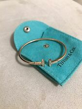 NEW Tiffany & Co. 18k Rose Gold Diamond T Wire Bangle Bracelet SMALL SIZE