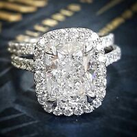 Excellent 2.10 Ct Cushion Cut Diamond Halo Engagement Bridal Ring Set F, VS GIA