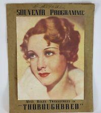 Programme Thoroughbred Helen Twelvetrees Original 1930's Vintage Souvenir