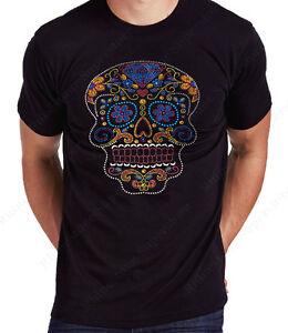 "Men's Rhinestone T-Shirt "" Colorful Sugar Skull "" in SM to 3X - Unisex"