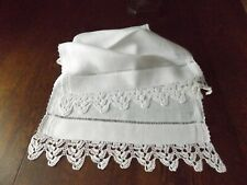 "Simple Vintage Ecru Linen Runner Hand Crochet Edge  44"" x 16.5"""