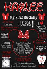 Personalised Birthday Poster Chalkboard Print Minnie Mickey Mouse Superhero 1st