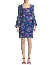 KARL LAGERFELD Paris New wTag BLUE Floral-Print Chiffon Bell-Sleeve Shift Dress