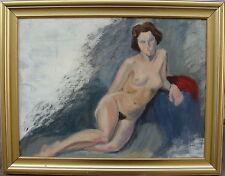 aufgestützter weiblicher Akt, unbekannter Maler, um 1970