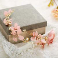 Wedding Bridal Pink Silk Flower Pearl Garland Hair Band Tiara Headband Jewelry