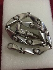 White Gold Mens Link Solid And Heavy Braceket 10 Kt 8 Inches