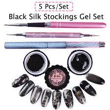 5stk Semi-transparent Black Pantyhose UV Gel Polish Linie Dotting Pen Pinsel